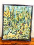 Vintage Art Pair of Landscape Oil Painting Impressionism by M Duval