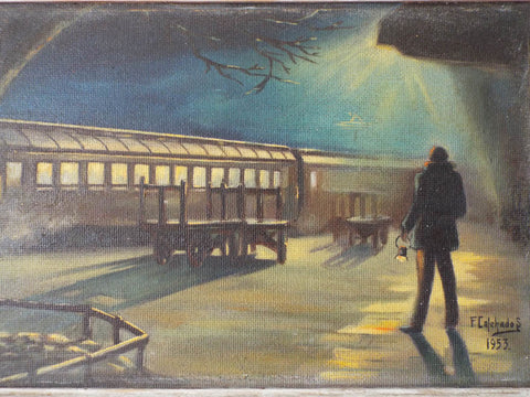Vintage 1950s Oil Painting Atmospheric Train Station by F Celchados Mexico
