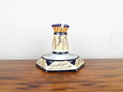 1930s Stoneware Art Deco Ceramic Porcelain Match Holder - Yesteryear Essentials  - 1