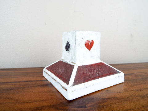 Vintage Playing Card Ceramic Match Holder