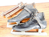 1940s Primitive Alfred Johnson Leather Ice Skating Skates