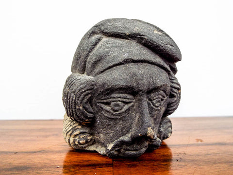 Antique Stone Basalt Carved French Head Phrygian
