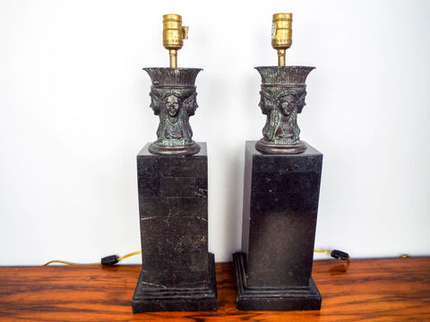 Vintage 1970's Maitland Smith Pair of Classical Antiquity Sculpture Lamps Hand Made in Philippines