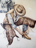 RL Vintage Signed Western Cowboy Watercolor Painting by M Martin - Yesteryear Essentials  - 3