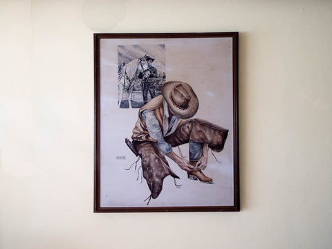 RL Vintage Signed Western Cowboy Watercolor Painting by M Martin - Yesteryear Essentials  - 1