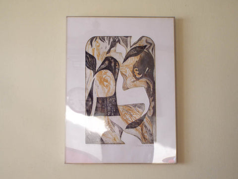Vintage Mid Century Signed Abstract Religious David Rose Print Ltd Ed 16/50