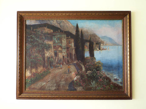 Signed Italian Oil on Canvas Landscape Painting ~ V Ricardo