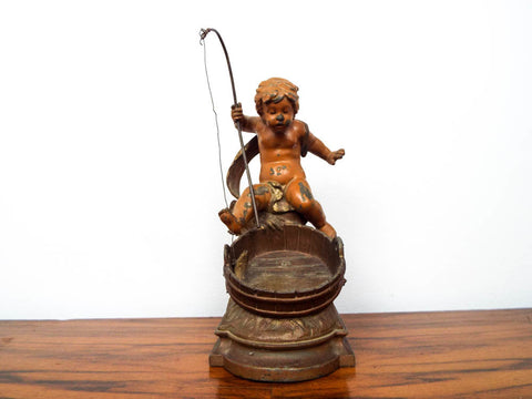 Antique Spelter French Sculpture August Moreau Boy Fishing