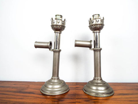 Victorian White Metal Hinged Candle Holders