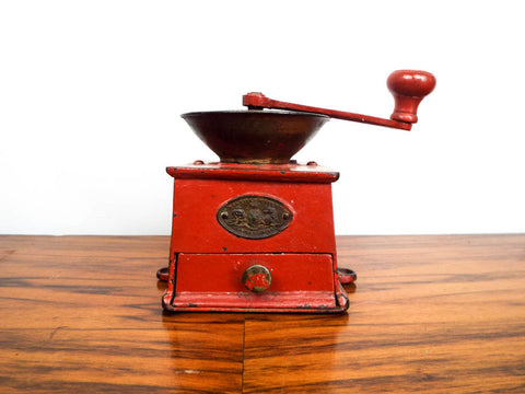 Antique 19th C Metal A Kenrick & Sons Coffee Grinder Red Herb Mill