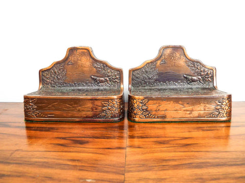 Arts and Crafts Copper Clad Bookends ~  Kronheim Oldenbusch
