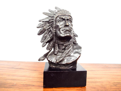Vintage Signed Bronze Indian Chief Bust Sculpture ~ Bernard Kim