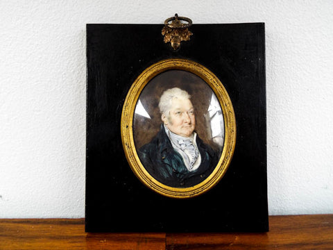Antique Miniature Portrait Oil Painting of Male