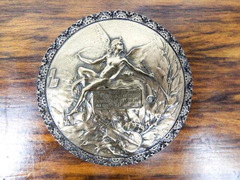 Vintage Copper Clad Medallion Giovanni Schoeman Cold Cast Bronze Albert Camus
