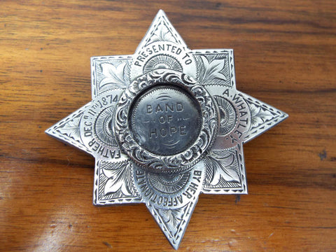 Antique 1874 Religious Prohibition Band of Hope Medallion