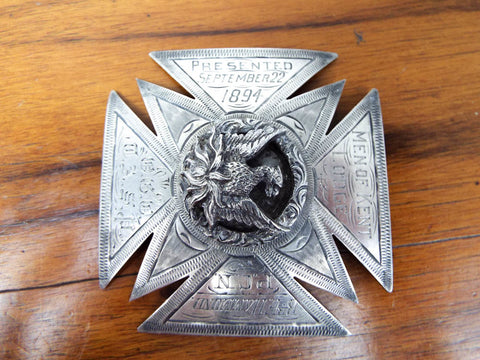 Antique Sterling Silver Religious Temperance Men of Kent Lodge Medallion Medal
