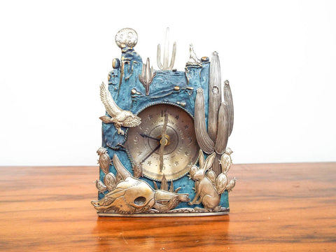 Vintage Western Kit Carson Art Mantel Clock