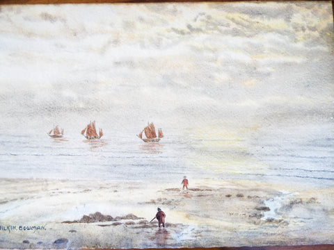 Vintage Signed Art Seascape Nautical Painting Wilkin Bowman Framed Watercolor