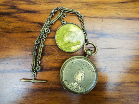 Antique IOR Temperance Aluminum Gold Pocket Fob Watch