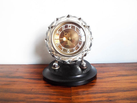 Russian Art Deco Style Glass Bakelite Mantel Clock Maak Majak