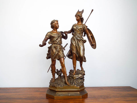 Antique Metal 19th C Sculpture Siegfried & Brunhild Germanic Folk Figural Statue