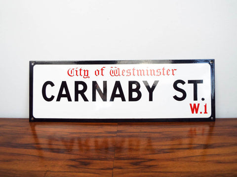 Vintage Enamel English Carnaby Street Street Sign Wall Hanging Fashion Sign