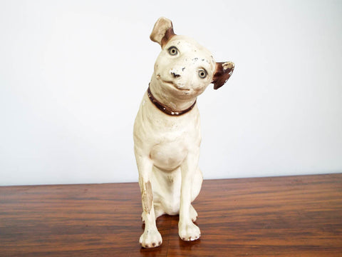 Nipper Dog Chalkware Sculpture Advertising  Statue