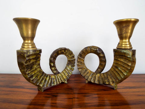 1970s Vintage Chapman Brass Ram Horn Style Candle Holders