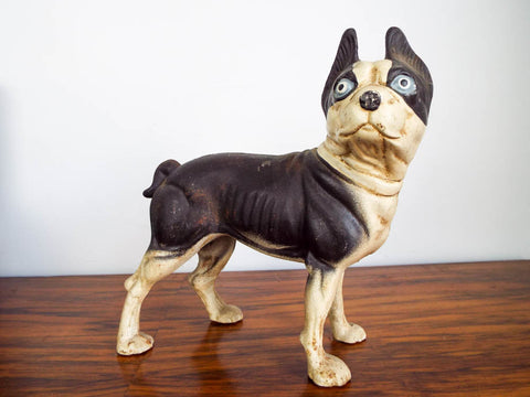 Vintage 1970s Cast Iron Boston Terrier Door Stop