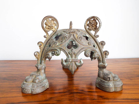 Antique French Bronze Trefoil Architectural Base