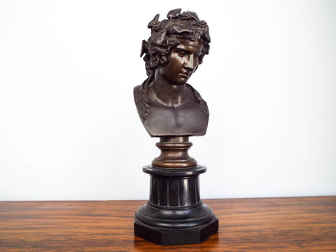 Antique 19th C French Bronze Bacchus Bust Sculpture ~ F Barbedienne