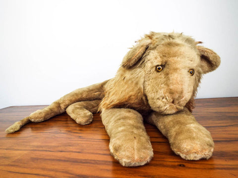 Vintage Mohair Lion w Mane Plush Stuffed Animal