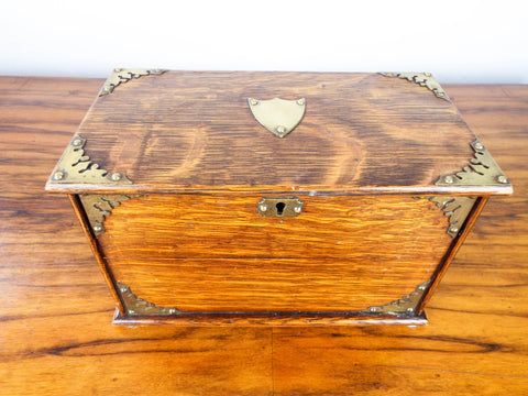 Antique English Wooden Oak Cigarette Box