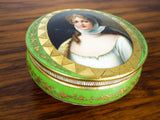 Antique Dresden Hand Painted Meissen Porcelain Portrait Box ~ Richard Klemm