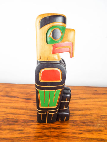 Vintage Eagle Totem Pole Sculpture by Cody Mathias