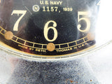 Vintage WW2 Seth Thomas Mark I Deck Clock Brass Nickel Plated US Navy Black Face