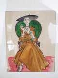 Vintage Watercolor Painting of Elegant Lady