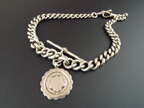 Antique English Sterling Silver Double Albert Watch Chain 14""
