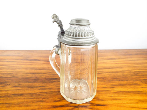 Antique German Cut Glass Pewter Lidded Stein