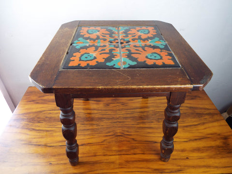 Antique Mission Style California Tiled Table Oak Side Chamfered Edge U2013  Yesteryear Essentials