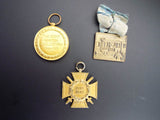 Antique Set of 3 WW1 Military 1914 1919 American Medals Badges British Medal