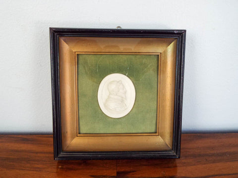19th C Religious  Plaster Bust Shadow Box