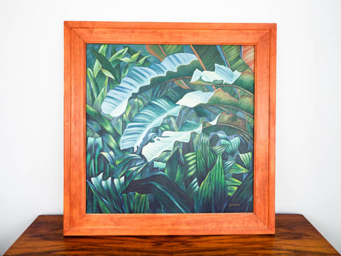 Vintage Signed Oil on Canvas Tropical Green Jungle Painting