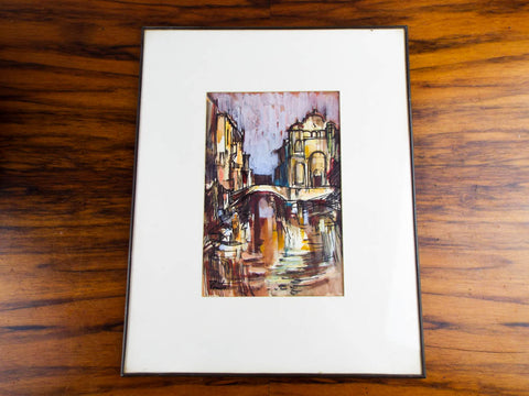 Original Vintage 1960s Signed Venice Canal Painting James Pinto Gouache On Paper