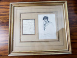 Original 1834 English Romantics Poet Leigh Hunt Hand Written Letter & Portrait