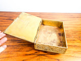 Antique 1910s Heavy Brass Embossed British Arts & Crafts Style Box