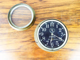 Vintage WW2 Seth Thomas No 2 Deck Clock Brass 1940s US Navy WWII USN Black Face