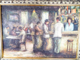 Vintage Signed Oil On Canvas Painting of a Bar Scene