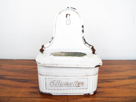 Antique French White Enamel Match Safe Holder