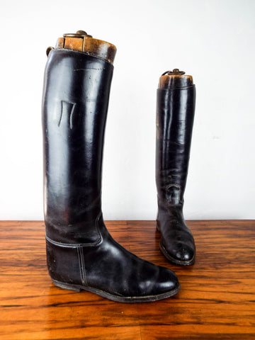 Antique Victorian English Leather Military Riding Boots W Original Wooden Trees